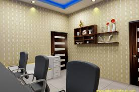 office interior designing. Office Interior Designing With Wall Paper And Color Contrast 3D View