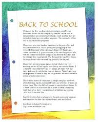 Back To School Newsletter Template For Word Free Classroom