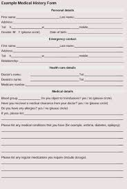 General Medical History Forms 100 Free Word Pdf Download