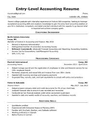 Accountant Resume Sample Entry Level Accounting Resume Sample