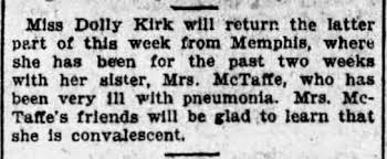 Dolly Kirk visits her ill sister, Mamie Kirk McTaffe. - Newspapers.com