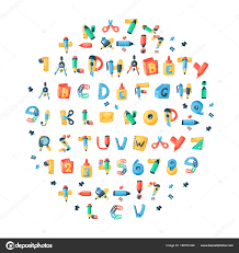 Letters Stationery Alphabet Stationery Letters Vector Abc Font Alphabetic Icons Of