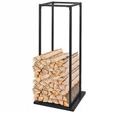 firewood log stand rack holder fireplace steel shelf storage outdoor 113cm