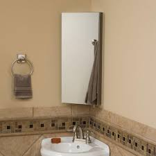 Crosstown Stainless Steel Corner Medicine Cabinet with Mirror. Zoom
