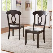 black wood dining chair. Sawyer Antique Black Wood Napoleon-Back Dining Chair (Set Fo 2)