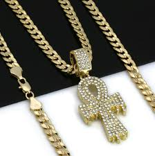 details about men s hip hop 14k gold plated iced out cz drip ankh pendant cuban chain 24
