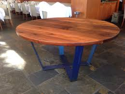 mesmerizing miraculous charming wood round table napa and blue metal legs and ceramic floor