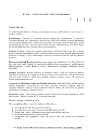 SYLLABUS   Chemical Reactor   Chemical Reactions