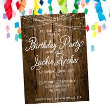 Rustic Birthday Party Invitation Adult Birthday Party Online