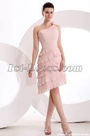 elegant dusty rose one shoulder short bridesmaid dress 1st dress com