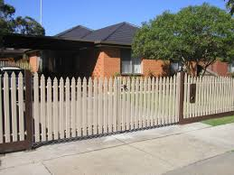 Perfect Picket Fence Double Gate W X 4 H Khaki Vinyl To Design