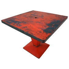 xavier pauchard french industrial dining room furniture. Red Metal \u0027Cube\u0027 Bistro Table By Xavier Pauchard, Pauchard French Industrial Dining Room Furniture