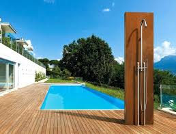 flat and square with an emphasis on their shapes modern outdoor showers are just a bit