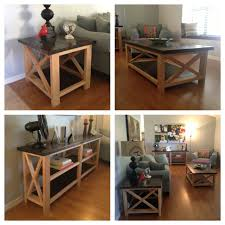 rustic x coffee table end table and console