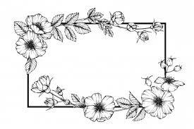 犬は花のフレームを描くイラストをバラ ベクター画像 プレミアム