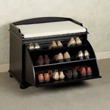 black color wood shoe holder bench with black color shoe rack storage sliding