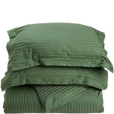 impressions hunter green stripe twin cotton comforter set 400 thread count photo 1