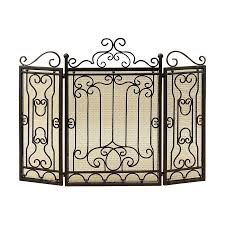 woodland imports 48 in black 3 panel scroll fireplace screen