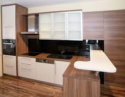 Designing Small Kitchens With Minimalist Wooden Cabinet And Flooring