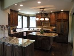 Very Comfortable Kitchen Layout Cabinets Are Knotty Alder Stained