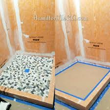 schluter systems kerdi shower kit 32x60 center drain kerdi floor system after ng the pan and water proofing we install the shower floor tile