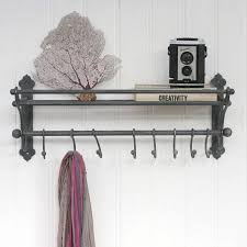 Vintage Style Coat Hook Rack With Shelf Vintage Inspired Luggage Rack Hook Shelf Luggage rack Shelves and 2