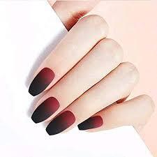 Los diseños de uñas acrílicas cortas en color beige combinan con todo y funcionan bien con todos los tonos de piel. Amazon Com Gortin 24 Unas Postizas De Acrilico Color Negro Y Rojo Beauty