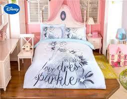 disney bedding set grey color princess cartoon printed bedding set for girls bedroom decor cotton bed