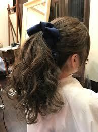 ブルーアッシュ 巻き髪ポニーテールナチュラルコントロール原宿所属