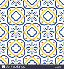 Spanish Fabric Designs Mediterranean Fabric Pattern Blue Stock Photos