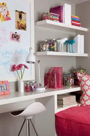 girls room with built in desk