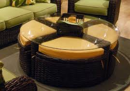 Round Rattan Ottoman Coffee Table Round Coffee Tables With Storage Furniture Brown Leather Tufted