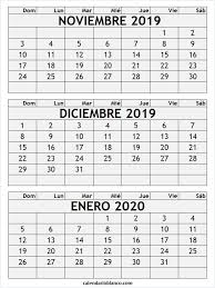 Calendario Noviembre 2020 Para Imprimir Diciembre 2019 Para Imprimir