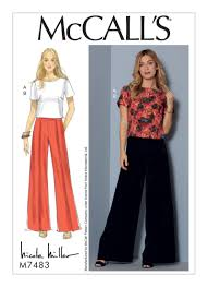 Mccall Patterns New McCall's 48 Misses' Short Sleeve Top And Pleated WideLeg Pants