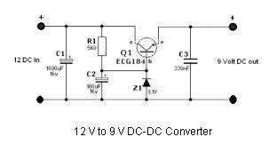 simple 12 volt to 9 volt dc dc converter circuit diagram world simple 12 volt to 9 volt dc dc converter this dc dc converter schematic