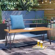 guyapi metal and brown wood garden bench with modern look and triangular legs on a