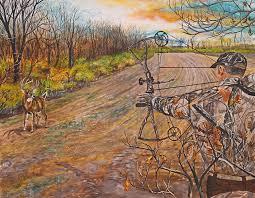 hunter painting bow hunter full draw by alvin hepler