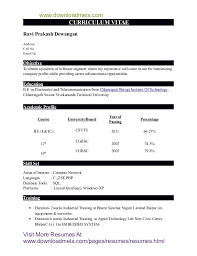 Engineering Fresher Resume Format For Freshers B Tech Cse Earpodco Stunning Resume B Tech