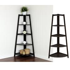 5 tier wood corner shelf black ladder display bookshelf decor storage furniture