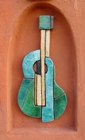 >wall art made from ceramic mosaic art garden wall art guitar  wall art made from ceramic mosaic art garden wall art guitar coloured