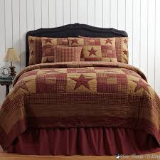 Rustic Bedroom with Red Brown Country Rustic Primitive Cal King ... & Rustic Bedroom with Red Brown Country Rustic Primitive Cal King Quilt  Bedding Set, Wrap Around Adamdwight.com
