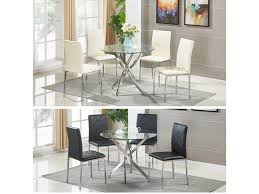 modern square glass dining room table set with 4 faux leather chairs home done