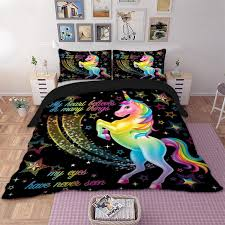 duvet cover pillowcase set bedding 3d unicorn quilt case bedding bedroom design duvet cover bedding set twin full queen king black duvet bedding ensembles