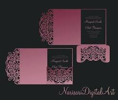 Fold Pocket Envelope Wedding Invitation Template Laser Cut File For