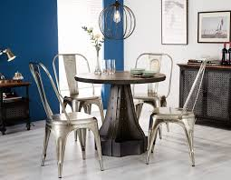 indian hub evoke iron and wooden industrial round dining table and 4 cosmo silver chairs cfs uk
