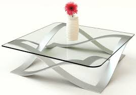 Amusing Design Of The Modern Glass Coffee Table With Silver Unique Legs  Added With Glass Countertops