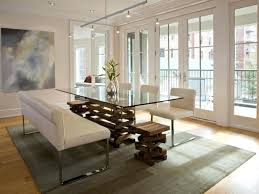 modern dining table with bench. Contemporary Dining Table Modern Room White Leather Upholstered Bench With Glass And 4 S