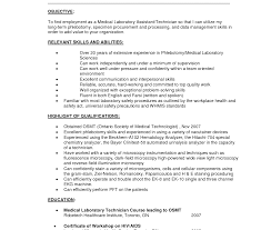 Medical Lab Technician Resume Sample Samples Of Resumes Dental
