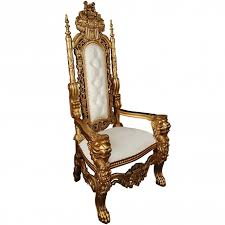 white gold antique french style throne chair