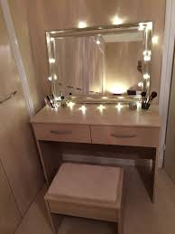 White Vanity Table With Lighted Mirror Fairy Light Dressing Table On A Budget Dressing Table